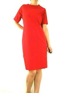 M-amp-S-Red-Dress-Size-16-Pencil-Bodycon-Sleeves-Shift-Stretch-Work-Casual-Knee
