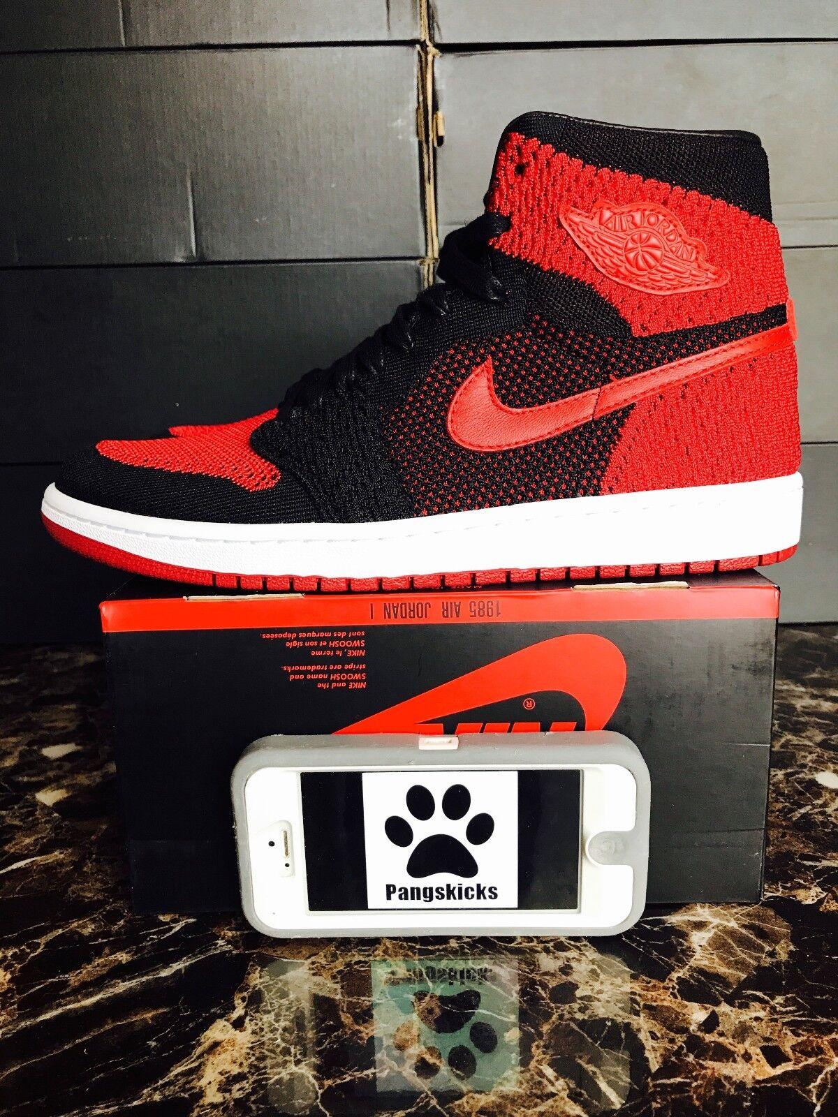 Nike air jordan 1 'alto flyknit vietato allevati rosso 919704-001 numero 14