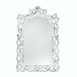 Details About Distressed White Shabby Vintage Carved Wood Bathroom Vanity Entry Wall Mirror