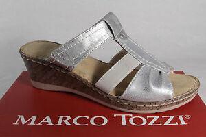 Marco-Tozzi-Mujer-Sandalias-Pantuflas-plata-Nuevo