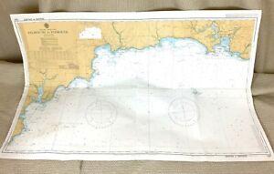 1983 Vintage Marittimo Mappa Falmouth Plymouth Inghilterra Sud Coast Navigazione