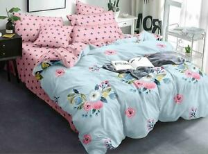 Multi Color Floral Print Cotton Double Size Bed Sheet with 2 Pillow Covers Set