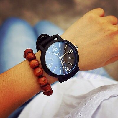 Women Men Roman Numarls Big Dial Silicone Band Sport Stainless Steel Wrist Watch