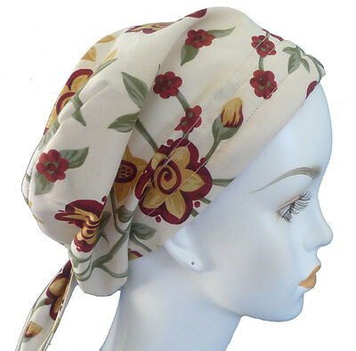 Tan Folk Art Floral Cancer Chemo Cap Hair Loss Scarf Turban Head Hat