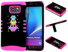 Galaxy Note 5 Case Hybrid Kickstand Armor Cover Cute Owls on Pink Skin