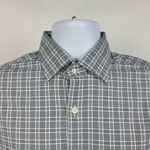 Peter Millar Summer Comfort Black Check Plaid Mens Dress Button Shirt Medium M