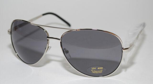 9b05340daad Aviator Large Driving Sunglasses Full Silver Metal Frame Smoke Mirror Av Uv  400