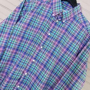 ETON-Contemporary-Fit-034-York-034-Cotton-Dress-Shirt-Button-Plaid-Men-s-Size-44-17-5