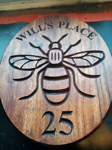 Manchester-Bee-House-Number-Sign-personalized-outdoor-carved-wooden-plaque