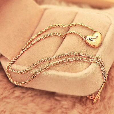 New Womens Pretty Gold Plated Heart Bib Statement Chain Jewelry Pendant Necklace
