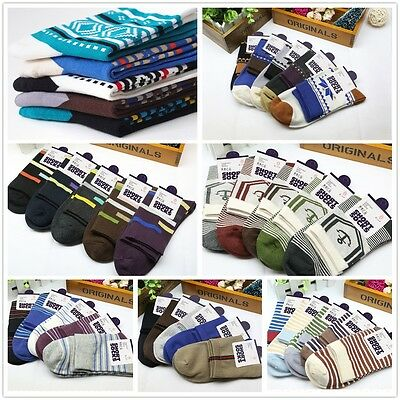 5 Pairs Pack 7 Styles Mens Designer Crew Quarter Cotton Socks Stripe Anchor etc