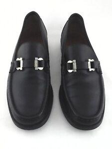 SALVATORE-FERRAGAMO-Loafers-Gancio-Horse-Bit-Black-Mens-US-7-5-EE-EU-41-5-660