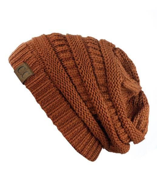 e4353670195 C.C Soft Stretch Cable Knit Beanie - Rust for sale online
