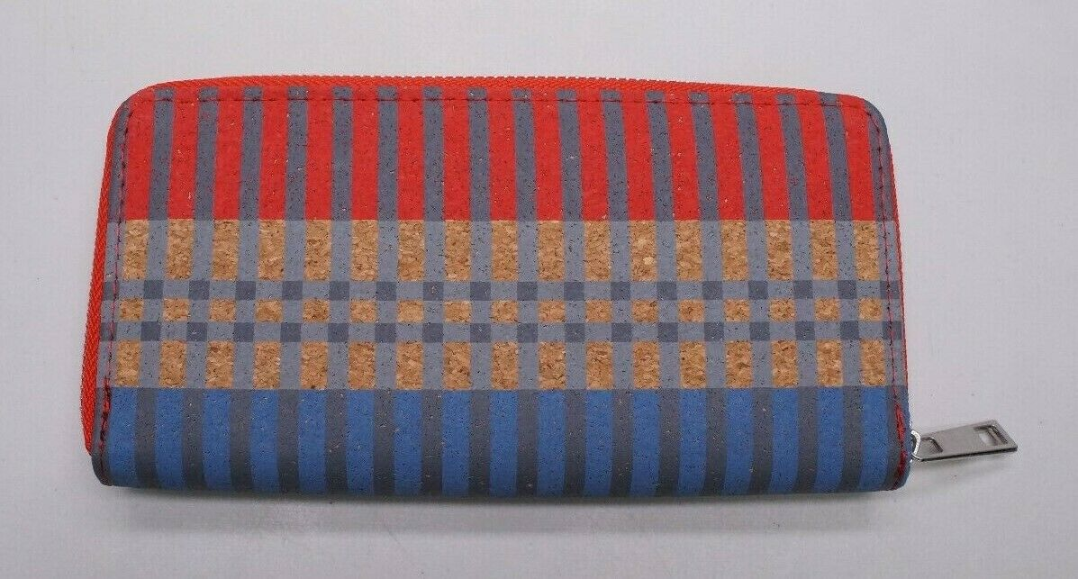 Maurices Womens Multicolor Striped Cork Zip Around Envelope Wallet NWOTs