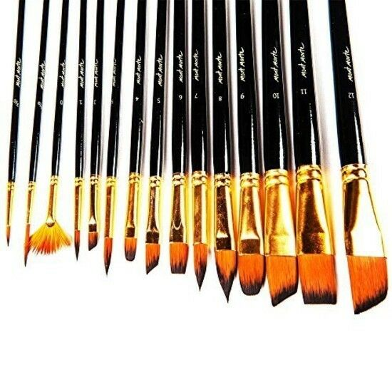 Great for Watercolor Oil-15 Acrylic Art Paint Brushes Set by Mont Marte