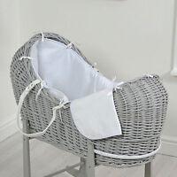4baby White Waffle Grey Wicker Baby Moses Basket / Snooze Pod & Mattress