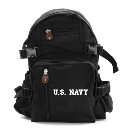 US NAVY Text Army Sport Heavyweight Canvas Backpack Bag