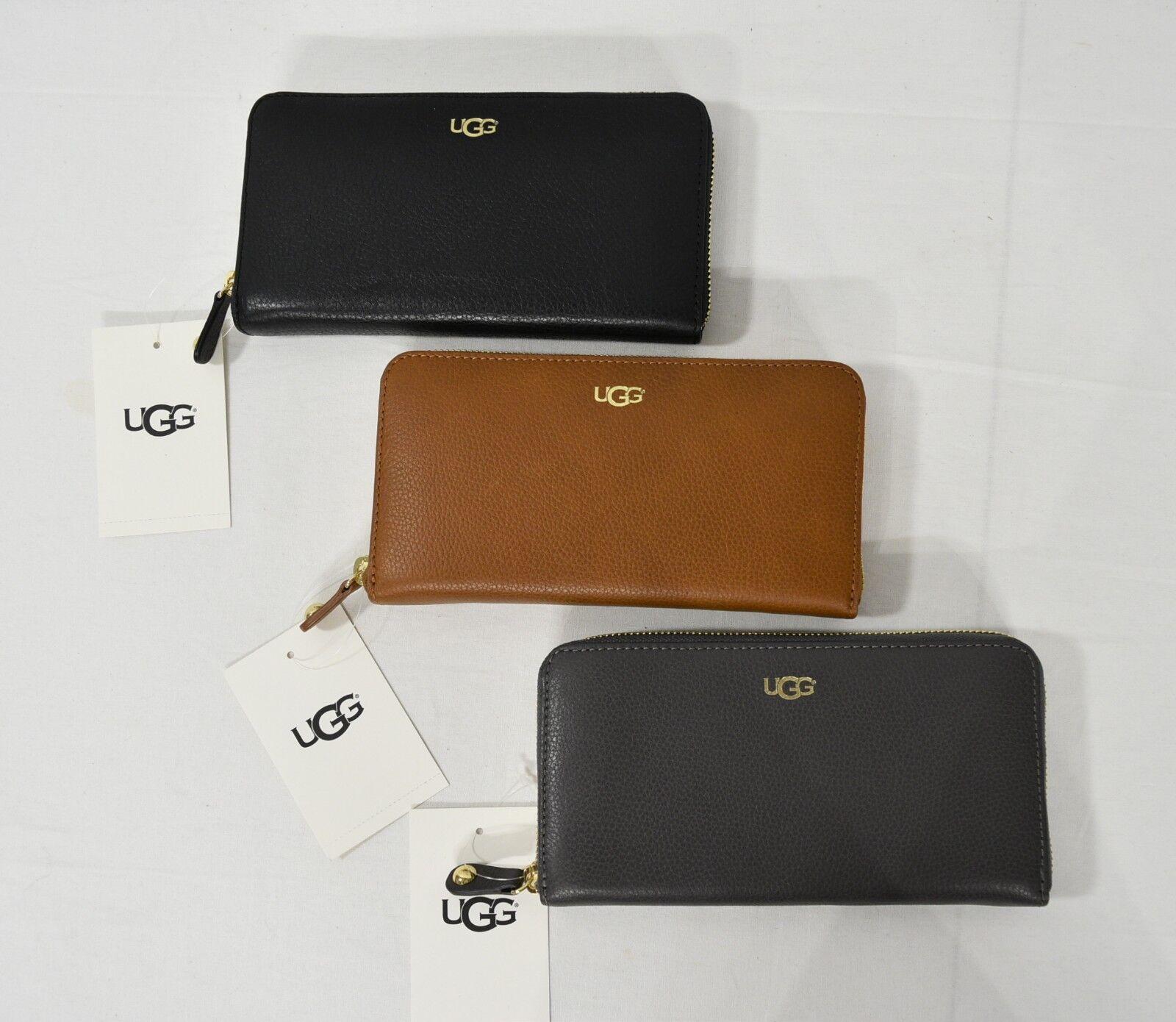 UGG Charlee Portefeuille en cuir avec fermeture éclair Continental en gris / noir / marron
