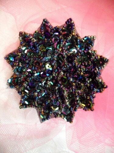 """Black AB Sequin Applique Floral Beaded Iron on Patch Craft Supplies 3/"""" XR364"""