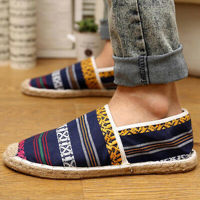 Mens Moccasins Casual canvas shoes Slip-On Loafers Fisherman shoes Breathable Nw