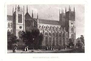 1840 Victoriano Estampado ~ Westminster Abbey ~ Londres