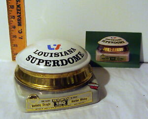 1975 Jim Beam LOUISIANA SUPERDOME NFL FOOTBALL STADIUM decanter + postcard POST