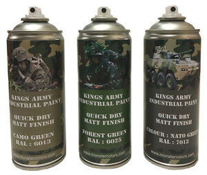 Kings-Army-Spray-Paint-Cans-400ml-Jungle-Camo-Pack-Military-paintball-airsoft