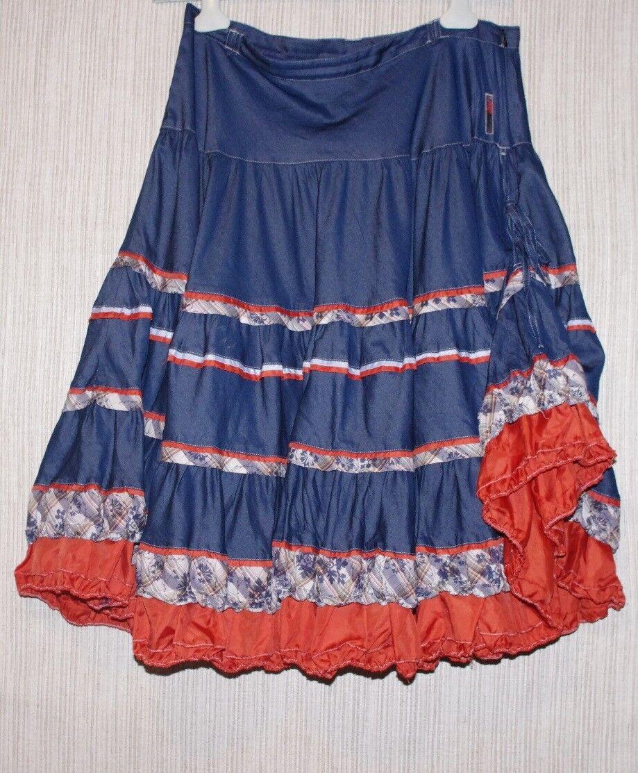 BAY AMOUR JUPE PINK bluee orange Boho Multi color Cotton Blend Skirt Size L