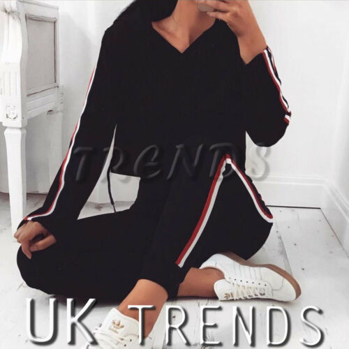 UK Women 2 PCS Hooded Crop Top Striped Loungewear Set Tracksuits Ladies Trousers