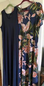 Attitudes Renee Como Jersey Set 2 Maxi Dresses Black Safari L NEW A347401