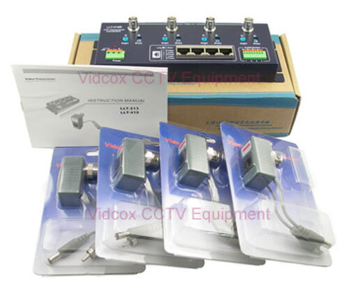 4 Channel Active Video Power Audio Balun Adapter BNC to Cat5 UTP for CCTV Camera