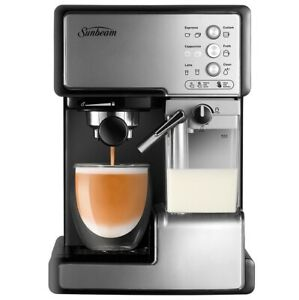 New-Sunbeam-EM5000-Cafe-Barista-Coffee-Machine-with-Milk-Frother-Stainless-Steel