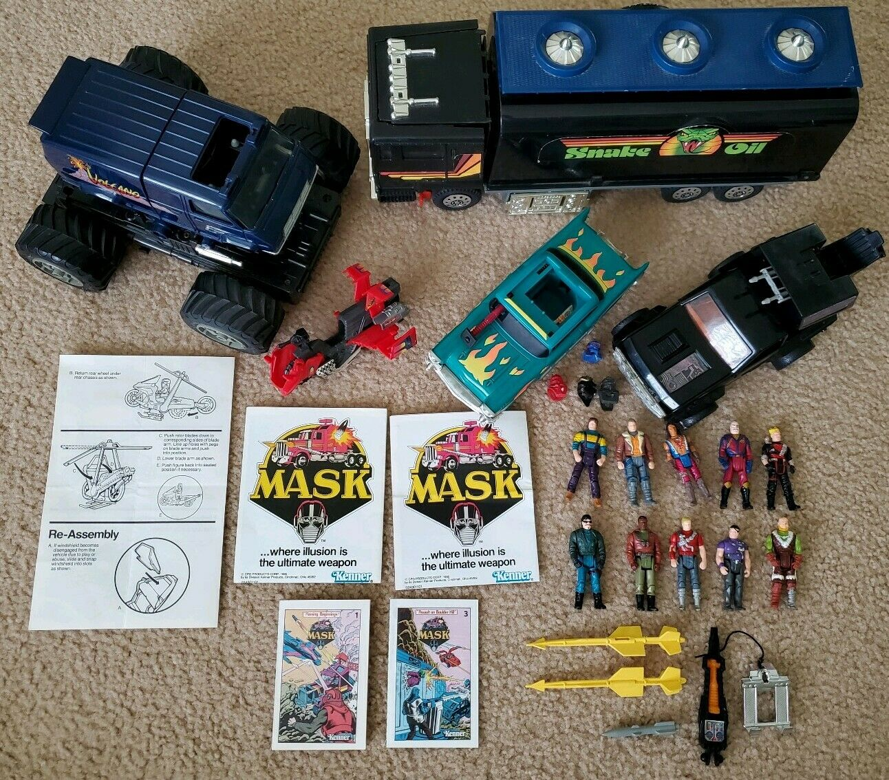 Vintage Kenner MASK M.A.S.K. Vehicle & Figure Lot w  Mask & Accessories NICE