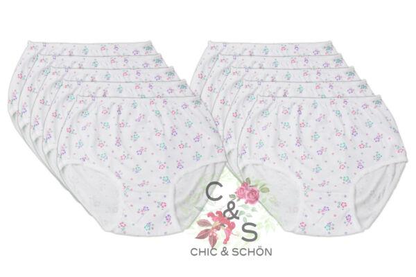 10er Pack Damen Slips aus Baumwolle, in weiß / geblümt, ausgezeichnete Passform