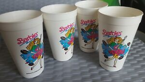 Set of 4 90's vintage BARBIE. Rock star. Soda tumblers. 1991. plastic.