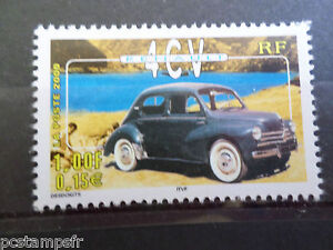 FRANCE-2000-timbre-3319-VOITURES-ANCIENNES-RENAULT-4-CV-neuf-MNH-CAR-STAMP