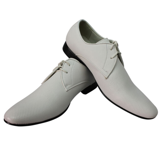 Mens Dress Shoes White Bravo Klein 1 Pointed Toe Leather Lining  Modern Style