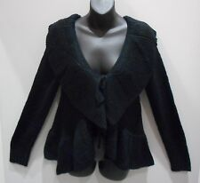 Sweater Medium Black Wide Ruffle Collar Hem Cardigan Bolero Top Ties  NWT DC408