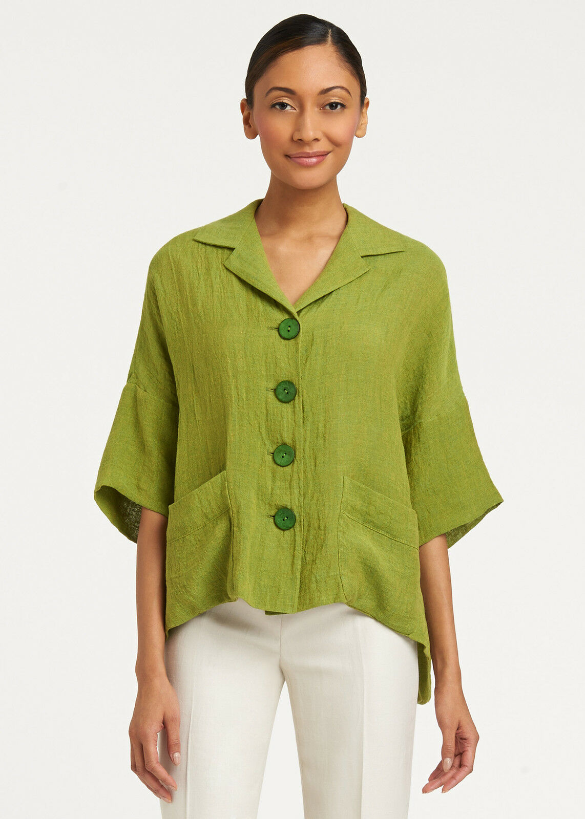 NWT Lafayette 148 New York WOMEN Mojave Linen Cam Topper SHIRT SHORT SLEEVE M L