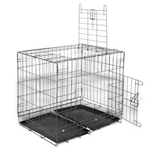 28-034-Cat-Crate-Double-Door-w-Divider-w-Tray-Folding-Heavy-Duty-Metal-Pet-Cage-L