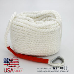 "1/2"" X 100 ' WHITE ANCHOR/ ROPE/BOAT/DOCK LINE DOUBLE BRAID  W/Thimble US STOCK"