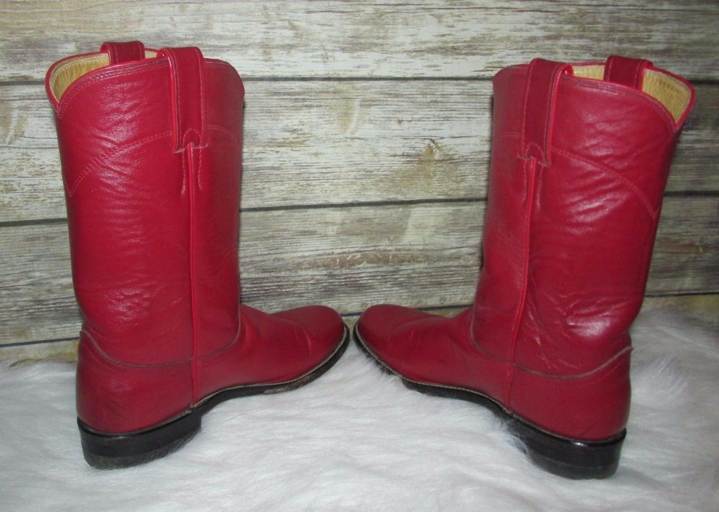 Vintage Retro Justin Red Leather Sz 6B Western Western Western Roper Riding Ankle Boots USA Made b18cc5