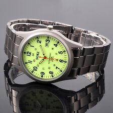 Noctilucent Dial For Dark Night Mens Date Quartz Metal Band Wrist Watch W060