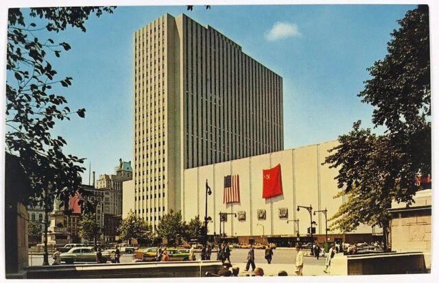 Coliseum Columbus Circle New York City NY Trade Show Street View Cars Postcard