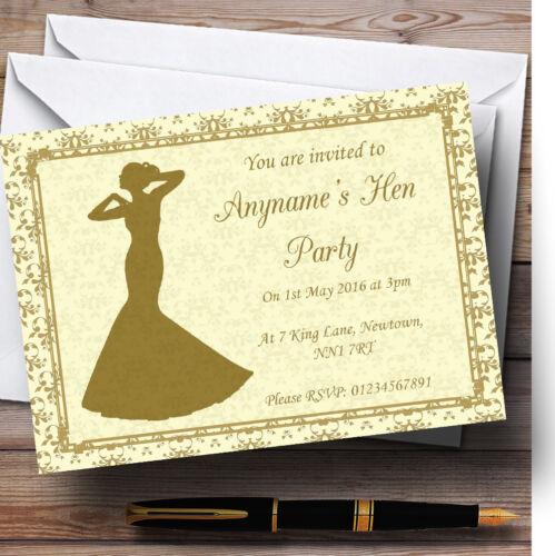 Jaune d'or classic personnalisé poule invitations Fête