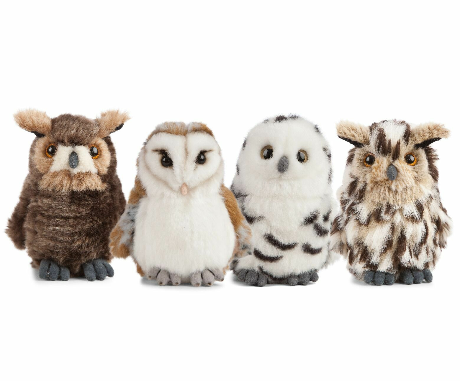 LIVING NATURE OWLS 4 ASSORTED - AN406 SOFT CUDDLY PLUSH STUFFED REALISTIC BIRD