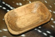 """* Carved Wooden Dough Bowl Primitive Wood Trencher Tray Rustic Home Decor 8-10"""""""