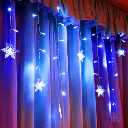 Xmas LED Snowflake Fairy String Window Curtain Lights Waterproof Outdoor Decor