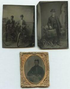 1860-1880-THREE-TINTYPES-UNION-SOLDIER-IN-UNIFORM-TWO-BICYCLISTS-SALESMAN