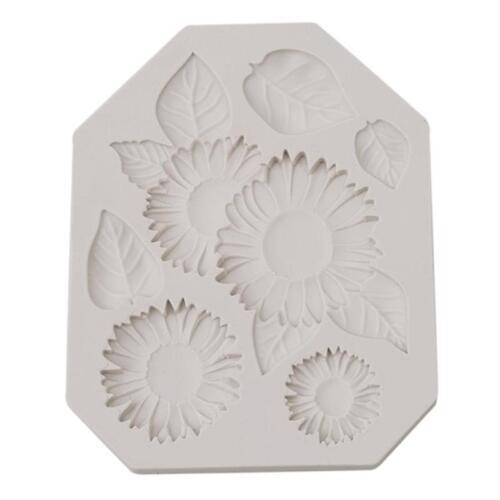 Tree Leaves Sunflower Shape Fondant Mold Cake Baking Soap Ice Mould Tool Shan